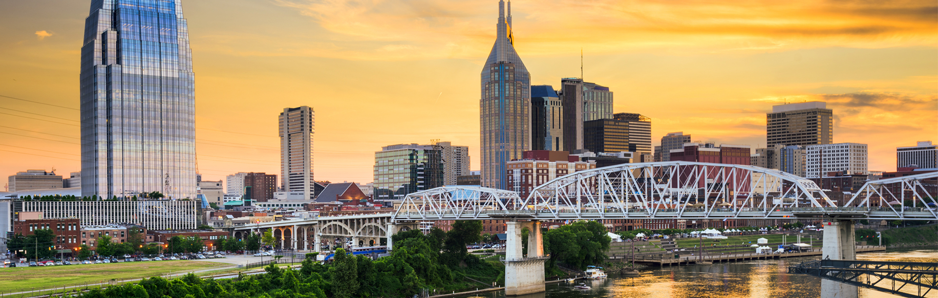 Panoramic view of Nashville skyline with yellow sky